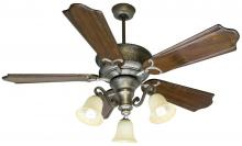 Craftmade K10785 - Two Light Pt - Pewter Tea-stained Glass Ceiling Fan