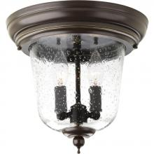 Progress P5562-20 - Two Light Antique Bronze Clear Seeded Glass Outdoor Flush Mount