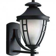 Progress P5778-31 - One Light Etched Glass Textured Black Wall Lantern