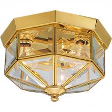 Progress P5788-10 - Three Light Clear Beveled Glass Polished Brass Outdoor Flush Mount