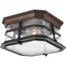 Progress P6017-84 - Two Light Clear Seeded Glass Espresso Outdoor Flush Mount