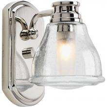one light clear seeded glass polished chrome bathroom sconce