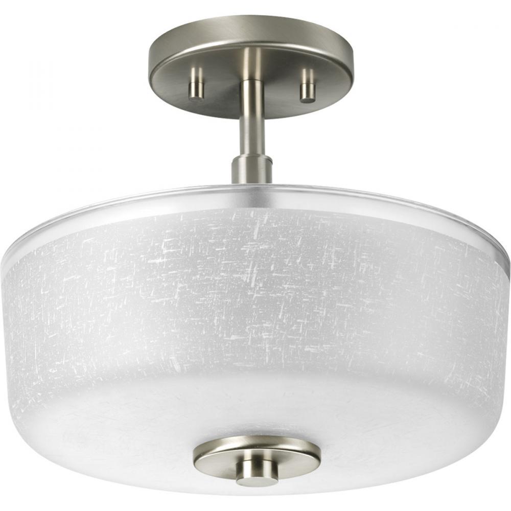 two light brushed nickel white linen glass drum shade semi flush mount. Black Bedroom Furniture Sets. Home Design Ideas