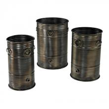 Sterling Industries 26-8668/S3 - Set Of 3 Industrial Oil Drum Planters