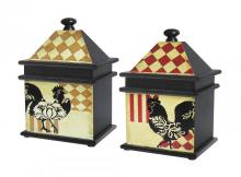 Sterling Industries 51-9267 - SET/2 HARLEQUIN ROOSTER BOXES