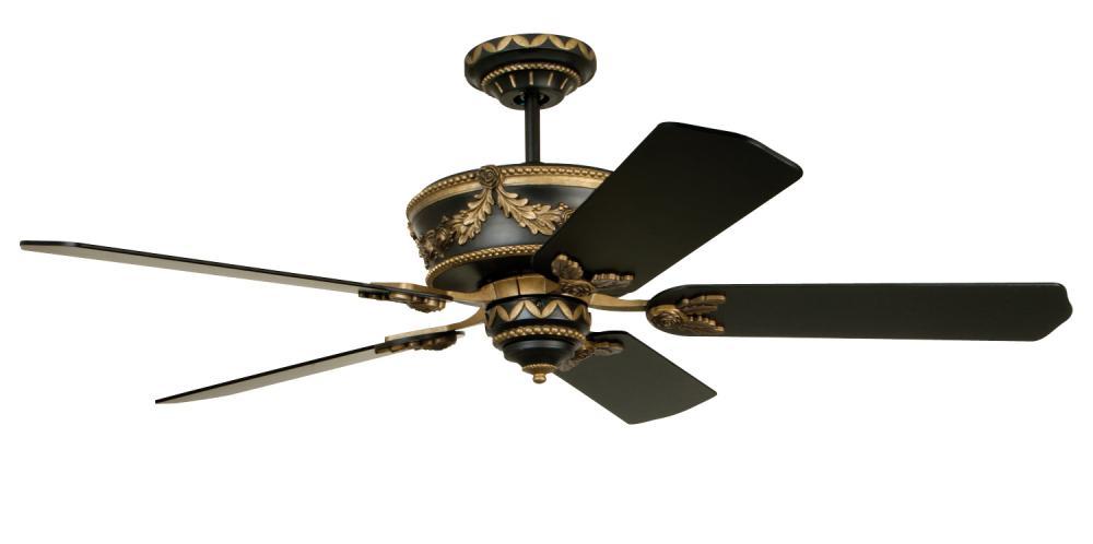 Matte Black Antique Gold Ceiling Fan