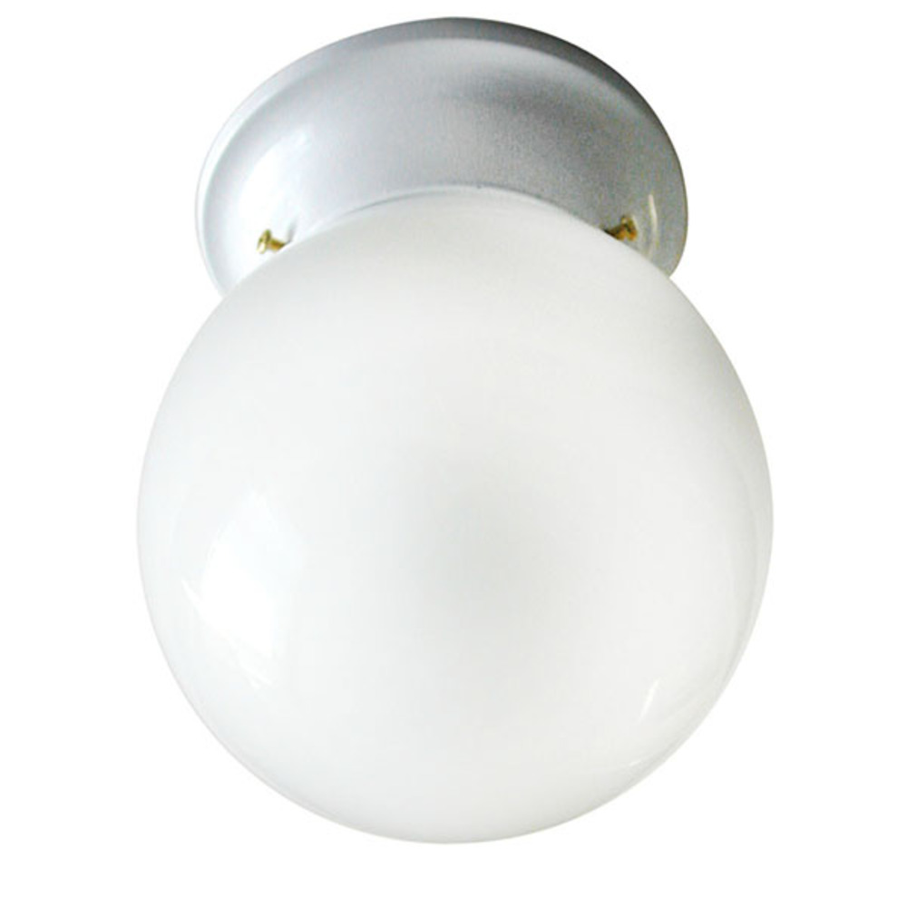 "Ceiling, ICL9 WH, 6"" Round Globe, White Opal Glass, 60W Type A"