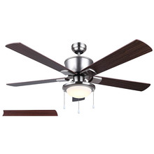 "Canarm CF52BRA5BN - CFan 52"", BRAE BN, 5 Rev. Blades, Cherry/ Walnut, Dual Mount, Pull Chains, 1x15W Integrated LED,"