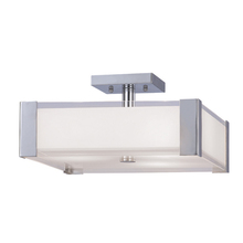 "Canarm IFM481A13CH - Metro, IFM481A13CH, 3 Lt Flush Mount, Opal Glass with Clear Rim, 60W Type A, 13"" x 7 1/4"""