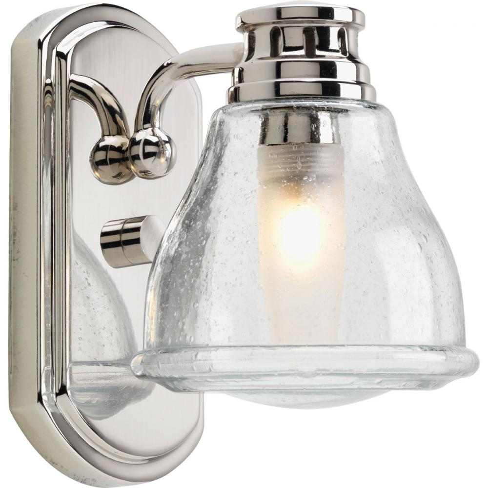 Bathroom Sconces Height one light clear seeded glass polished chrome bathroom sconce