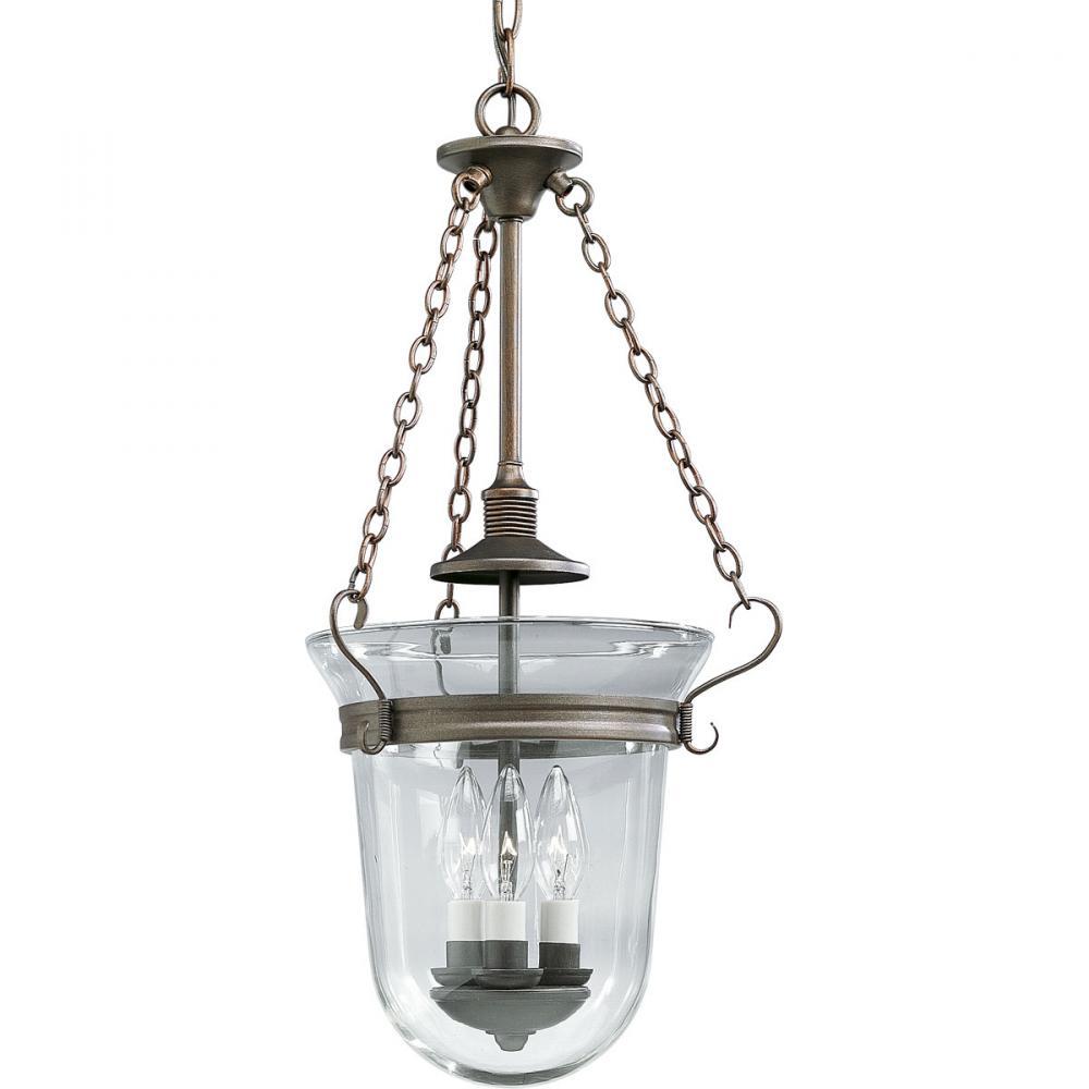 Hall Lighting : Three Light Heirloom Clear Hurricane Glass Foyer Hall Pendant : 5Z6F4 ...