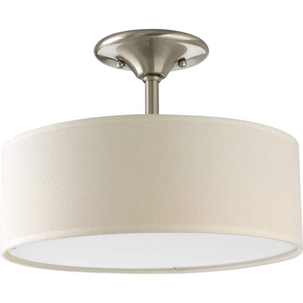 Flush Mount Drum Light: Two Light Brushed Nickel Beige Linen Shade Glass Drum Shade Semi-Flush Mount  : 6CHYV | PINE LIGHTING,Lighting