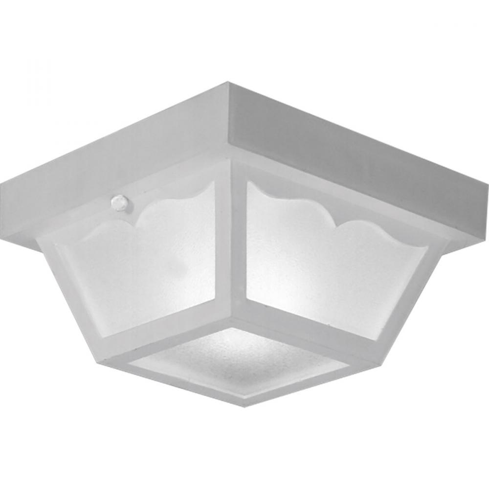 One Light White White Acrylic Diffuser Glass Outdoor Flush Mount