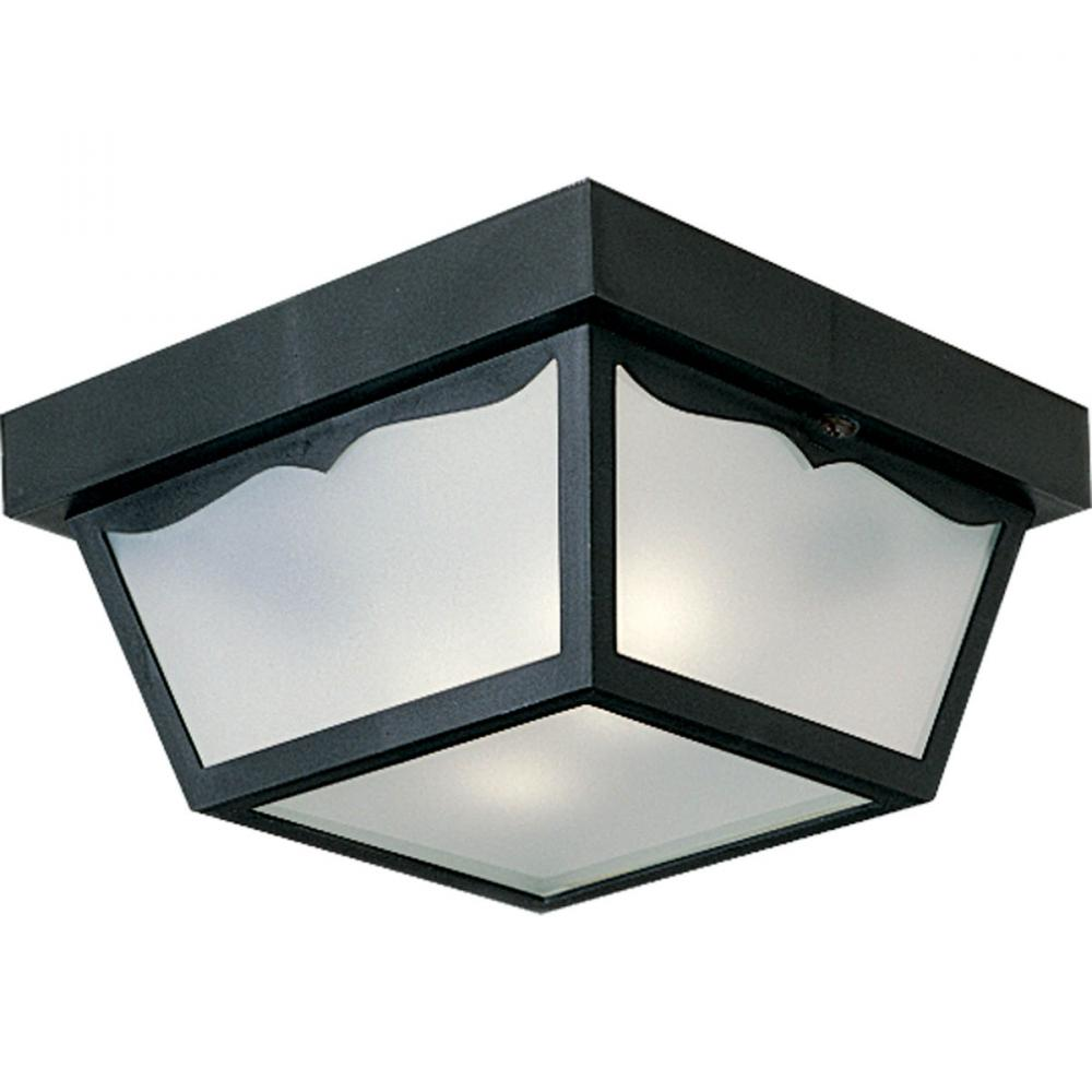Two Light Black White Acrylic Diffuser Glass Outdoor Flush Mount