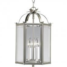 Progress P3645-09 - Three Light Brushed Nickel Clear Flat Glass Framed Glass Foyer Hall Fixture