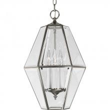 Progress P3716-09 - Three Light Brushed Nickel Clear Beveled Glass Framed Glass Foyer Hall Fixture