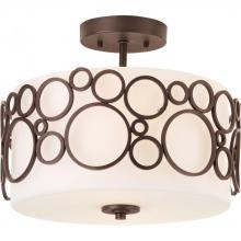 Progress P3741-74 - Two Light Opal Etched Glass Venetian Bronze Drum Shade Semi-Flush Mount
