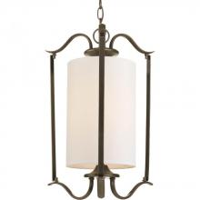 Progress P3799-20 - One Light Antique Bronze Beige Glass Down Pendant