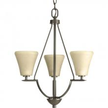 Progress P3821-20 - Three Light Antique Bronze Umber Linen Glass Up Chandelier