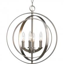 Progress P3827-126 - Four Light Burnished Silver Matching Candle Sleeves Glass Open Frame Foyer Hall Fixture