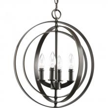 Progress P3827-20 - Four Light Antique Bronze Matching Candle Sleeves Glass Open Frame Foyer Hall Fixture