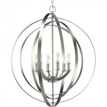 Progress P3889-126 - Six Light Burnished Silver Matching Candle Sleeves Glass Open Frame Foyer Hall Fixture