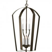 Progress P3929-20 - Six Light Antique Bronze White Finish Candle Sleeves Glass Open Frame Foyer Hall Fixture