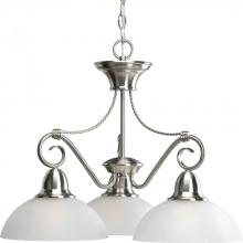 Progress P4579-09 - Three Light Brushed Nickel Etched Watermark Glass Down Chandelier