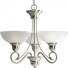 Progress P4580-09 - Three Light Brushed Nickel Etched Watermark Glass Up Chandelier