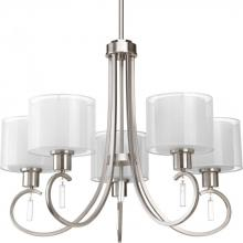 Progress P4696-09 - Five Light Brushed Nickel White Glass Up Chandelier