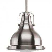 Progress P5050-09 - One Light Brushed Nickel Clear Fresnel Glass Down Mini Pendant