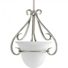 Progress P5144-09 - One Light Brushed Nickel Etched Glass Foyer Hall Pendant