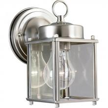 Progress P5607-09 - One Light Brushed Nickel Clear Flat Glass Wall Lantern