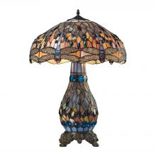 ELK Lighting 72079-3 - Dragonfly Tiffany Glass Table Lamp in Tiffany Br