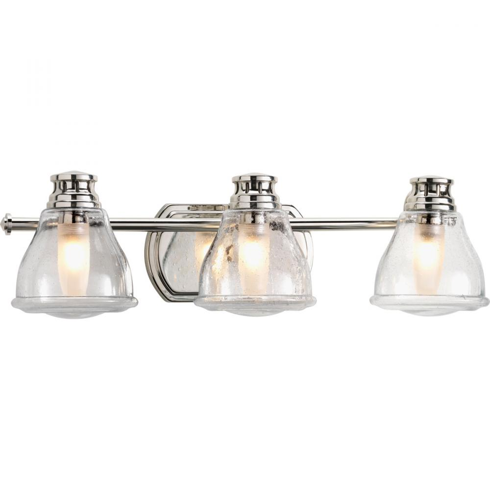 3-Lt. Polished Chrome Bath Light with Bulb : 6FDQV | PINE LIGHTING
